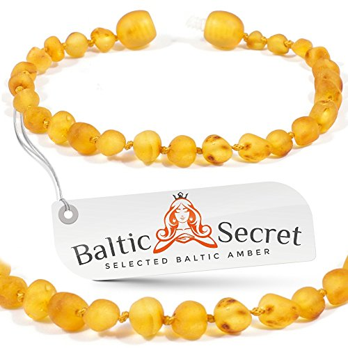 Amber Teething Bracelet from Baltic Secret, 50% Higher in Value & Effectiveness, Extra Safe Amber Bracelet or Anklet for Babies, Toddlers Anti Inflammatory, Drooling & Teething Pain Reduce