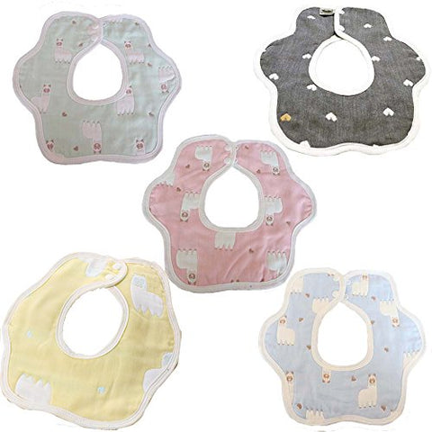 5Pcs Unisex Baby Drool Bibs,360 Degree Reversible,Super Soft Absorbent bib For Toddler Infant,100% Cotton