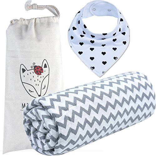#1 BEST CHOICE # Organic Muslin Cotton Blanket 100% Hypoallergenic with Protective Carrier & Bandana Bib. Perfect Baby Shower Gift Set for Newborns, Toddlers, Boys or Girls. Unisex,
