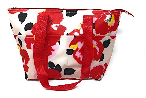 15 In Long Large Reusable Zippered Top Insulated Lunch Bag (White Red Garden