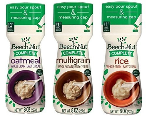 3 Pack Bundle Beech-Nut Baby Cereal: Rice, Oatmeal, and Multigrain, 8 Oz.