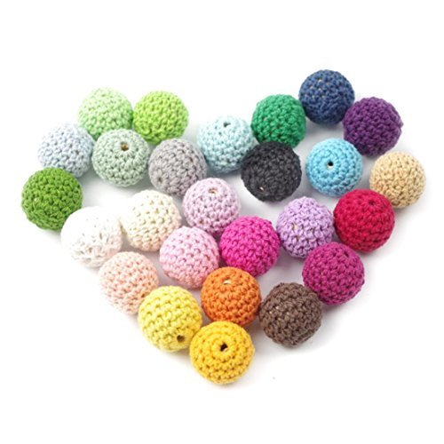 50pc Wooden Crochet Covered Beads Colour Mix Ball 16mm For Baby Teething Diy Necklace Mini Crochet