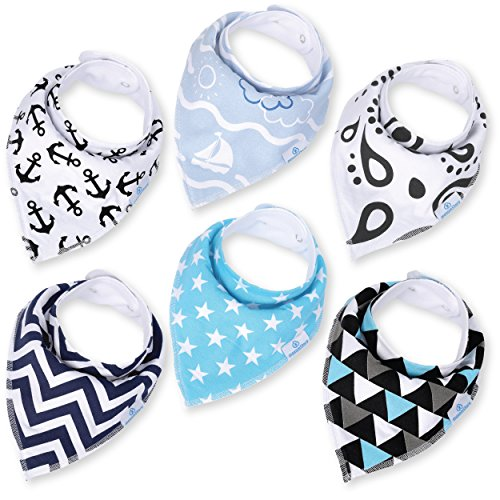 Baby Boy Bandana Drool Bibs - Set of 6 Cute Designs Extra-Soft Organic Cotton Bib for Delicate Skin, Perfect for Teething, Drooling, Breast Feeding, Burp & Spit-Up Messes, & Outfit