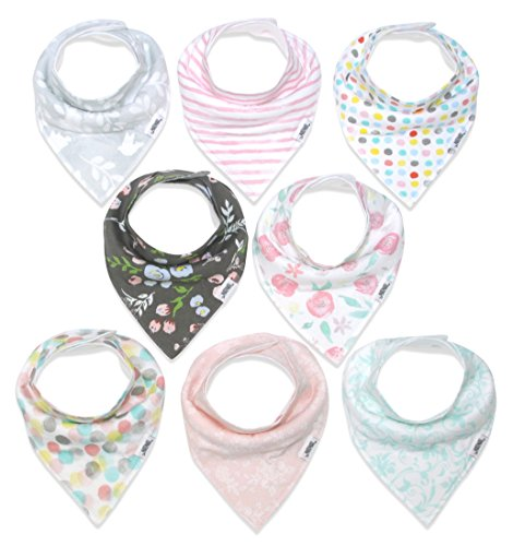 Baby Bandana Drool Bibs for Girls, 8-Pack Organic Absorbent Drooling & Teething Bib Set by
