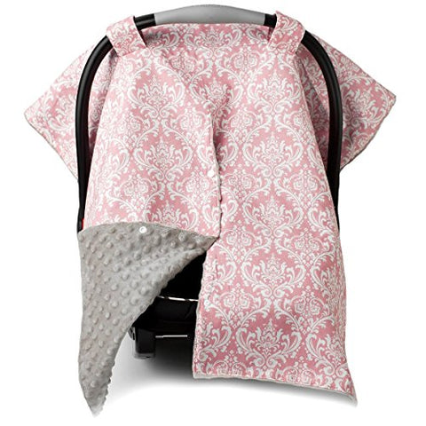 2 in 1 Carseat Canopy and Nursing Cover Up with Peekaboo Opening | Large Infant Car Seat Canopy for Girl | Best Baby Shower Gift for Breastfeeding Moms | Grey Damask Pattern with Soft Pink