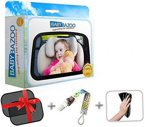 Baby Back Seat Car Mirror | Wide Clear View Infant Rear Facing | Safe and Shatterproof | Best Discount Deal | Free Window SunShades, Pacifier Clip, Cleaning Cloth in a Luxury Box Gift Set |