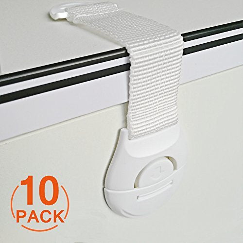 [10 Pack] Cupboard Child Strap Locks, Canwn Child Drawer Safety Locks Strong Adhesive Baby Door Locks Safety Lock Latch for Drawer and Cabinet Door No Drilling or