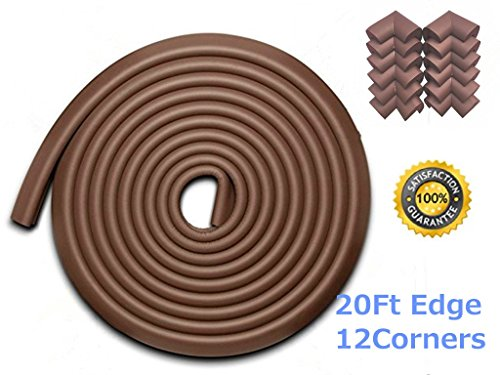 AWESOM 23.3 ft [19.7ft Edge + 12 Corners] Safety Edge & Corner Cushion Guards- Premium Childproofing Protection -COFFEE-EXTRA LONG, EXTRA DENSE,3