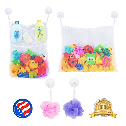 2 x Mesh Bath Toy Organizer + 6 Ultra Strong Hooks – The Perfect Net for Bathtub Toys & Bathroom Storage – These Multi-Use Organizer Bags Make Bath Toy Storage Easy – For Kids, Toddlers &