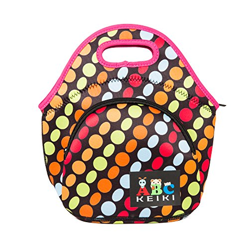 ABC Keiki Neoprene Lunch Tote - Insulated Lunch bag for kids, teens, and adults on the go! (Rainbow
