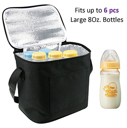 Baby Bottle Bags for Travel, Lexvss Breastmilk Insulated Cooler Tote Storage, Reusable Breast Milk Baby Bottle Cooler Bag (Fits up to 6 Large 8Oz.