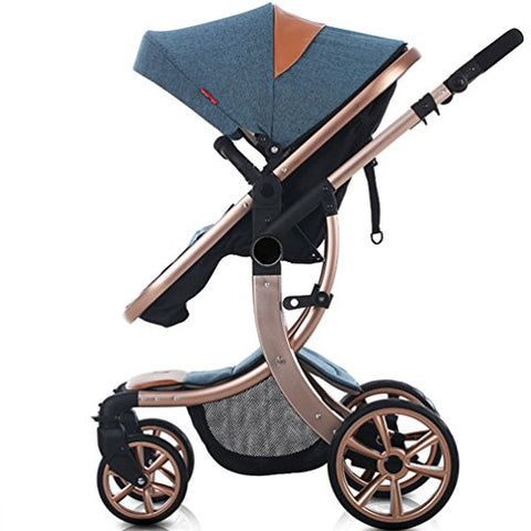 AIMILE Newborn Baby Pram Infant Foldable Anti-shock High View Jogger Stroller Multi-Positon Reclining Seat Stroller