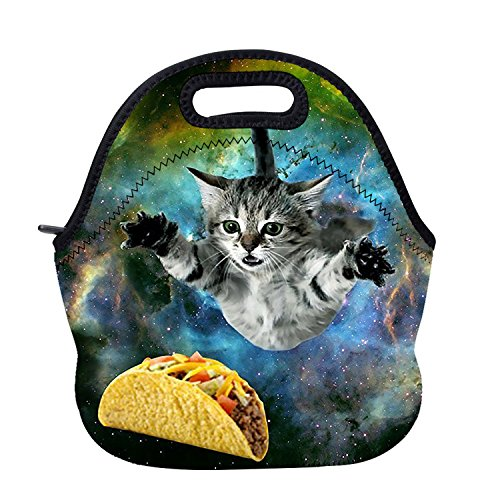 AOTIGO Curious Cat Flying Through Space Insulated Waterproof Neoprene Lunch Tote Bag With Neoprene For Adults, Kids, Girls, And