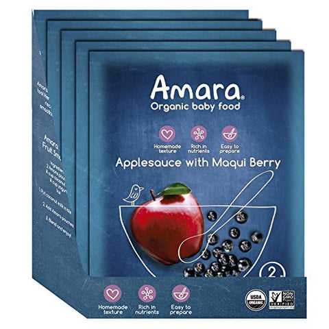 Amara Baby Food, Applesauce with Maqui Berry, Healthy Baby & Infant Food, Organic Fruits for Baby's First