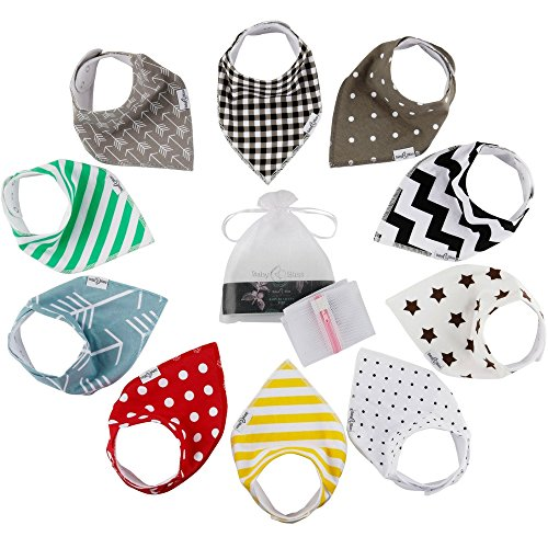 10-Pack Baby Bandana Bibs | 100% Cotton Front & Back | Ultra Soft & Super Absorbent Hypoallergenic Unisex Bibs for Teething Boys & Girls | Baby Shower Gift