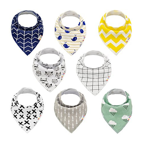 Alva Baby Stylish Unisex Baby Bandana Drool Bibs for Boys and Girls 8 Pack of Super Absorbent Baby Gift