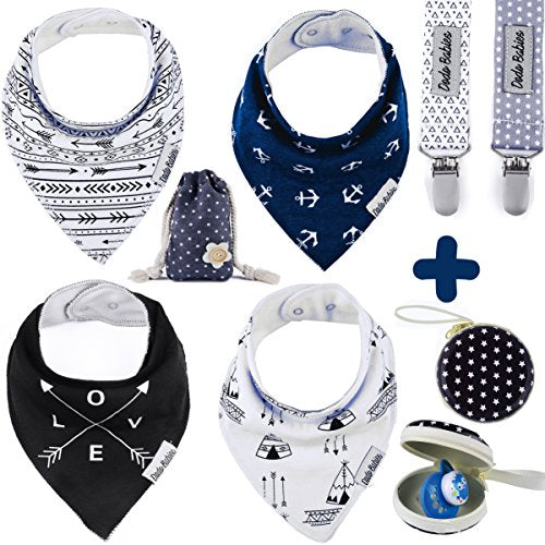 Baby Bandana Drool Bibs by Dodo Babies + 2 Pacifier Clips + Pacifier Case in a Gift Bag, Pack of 4 Premium Quality For Boys or Girls , Excellent Baby Shower / Registry