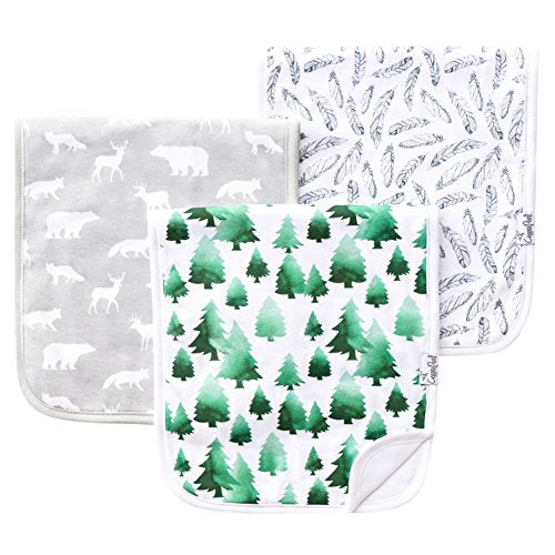 "Baby Burp Cloth Large 21''x10'' Size Premium Absorbent Triple Layer 3 Pack Gift Set For Boys ""Woodland Set"" by Copper"