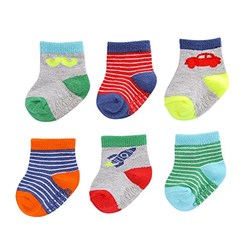 Baby Boys Socks 6 Pack with Non-Slip