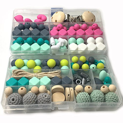 Amyster DIY Nursing Necklace Kit 2 Boxed Mixed Color Geometry Hexagon Silicone Beads Heart-Shaped Silicone Round Silicone Beads Wooden Crochet Beads Pacifier Clip Baby Teether