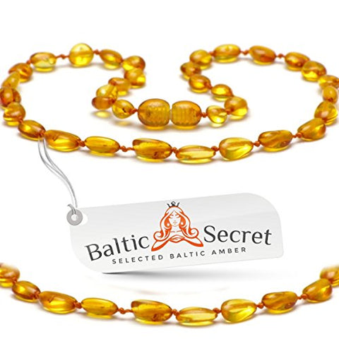 Amber Teething Necklace from Baltic Secret, Certified Amber Beads that are 50% Higher in Value and Effectiveness, Extra Safe Teething Necklace with Anti Flammatory, Drooling & Teething Pain Reduce