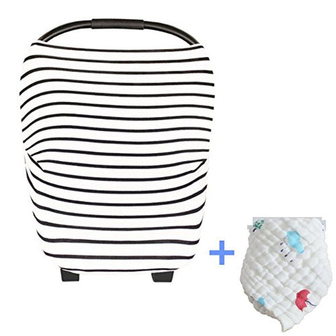 5 in 1 - Baby Car Seat Canopy Cover, Nursing Cover, Shopping Cart Cover, Baby Stroller