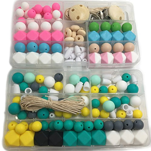 Amyster DIY Baby Toys Mixed Color Geometry Hexagonal Round Silicone Beads Wooden Beads Pacifier Clips Wooden Peach Heart Breakaway Safety Clasp For Baby Tooth Nursing Set