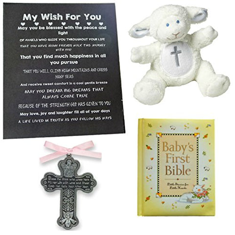 Baby BAPTISM, CHRISTENING or DEDICATION GIFT SET-Baby Bible, Crib Medal, Lamb Rattle and Artwork-1 Big