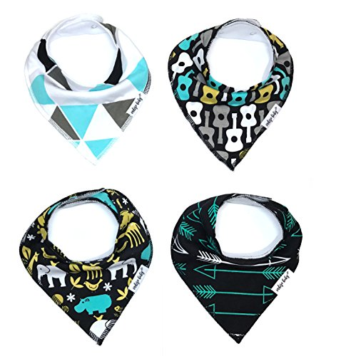 "Baby Bandana Drool Bibs for Drooling and Teething 4 Pack Perfect Baby Shower Baby Registry Gift Set For Boys ""Wild Child"