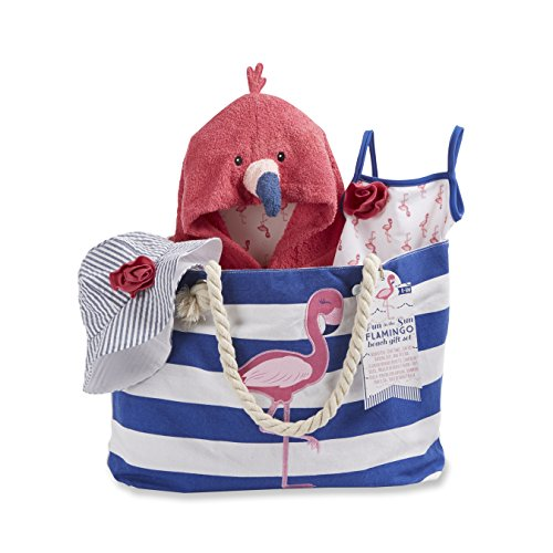Baby Aspen Flamingo 4 Piece Nautical Gift Set with Canvas Tote for