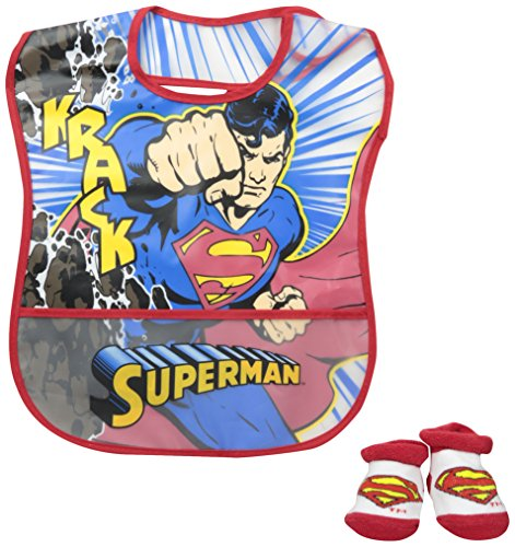 Baby-Boys Infant Superman Crumb Catcher Bib and Bootie