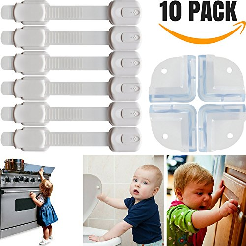 6 Child Safety Locks + Bonus 4 Baby Proofing Corner Guards & Reusable with Extra 3M Adhesive. Baby Proofing Cabinets, Drawers & More. Buy Your Baby Proofing Kit