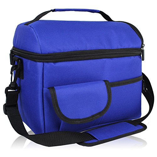Amoui Blue Insulated Lunch Bag for Men Women Adult Kids 8L Large Picnic Dinner Lunch Cooler Bag Dual Decker Thermal Lunch Boxes Bento Tote Removable Shoulder Strap for Work