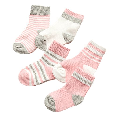 Baby Toddler Cute Striped Cotton Crew Socks for Boys and Girls 5 Pairs