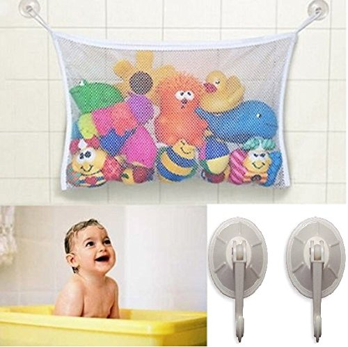 Baby/Toddler Bath Tub Toys Organizer/Storage - Durable Design + 2 Extra Strong Suction Cups! Large Storage/Bag/Holder for Toys Even as a Shower Caddy and Baby gift! Mold Free Playtime for