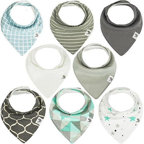 Baby Bandana Drool Bibs - Unisex 8-pack Bib Set For Drooling & Teething Boys & Girls - Soft Absorbent 100% Organic Cotton & Fleece - Hidden Stitch Edge - Best Gift for Newborn Boy & Girl - Mint &