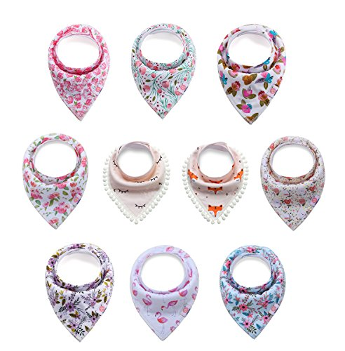 10 Pack Baby Girls Organic Cotton Bandana Drool Bibs for Drooling and Teething, Soft and Absorbent by Litchi