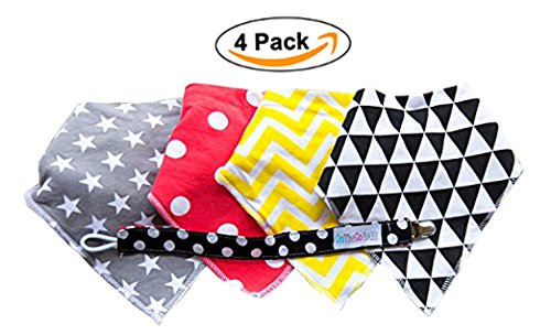 Absorbent Drool Baby Bandana Bibs by OnTheGoBaby, Perfect Shower Gifts with Free Pacifier