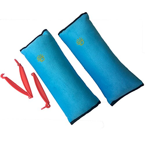 2 Car Seat belt Pillows for Kids with 2 Seatbelt Clip - Headrest Neck Support Pads - Washable Covers - Adjust Vehicle Seat Belt Cushion for