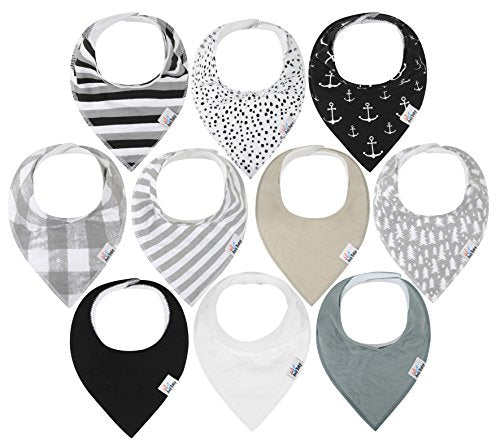 10-Pack Baby Bandana Drool Bibs for Drooling and Teething, 100% Organic Cotton, Soft and Absorbent, Hypoallergenic Unisex Bibs for Baby Boys & Girls - Baby Shower Gift Set