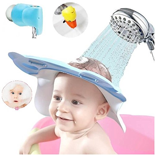 3item Set Leak Proof Baby Shower Cap (Pink, Adjustable Straps) Faucet Cover (Blue) & Faucet Extender (Yellow) - Baby Toddler Child Kid Bathroom Safety Set - Bath Visor, Spout Cover & Faucet