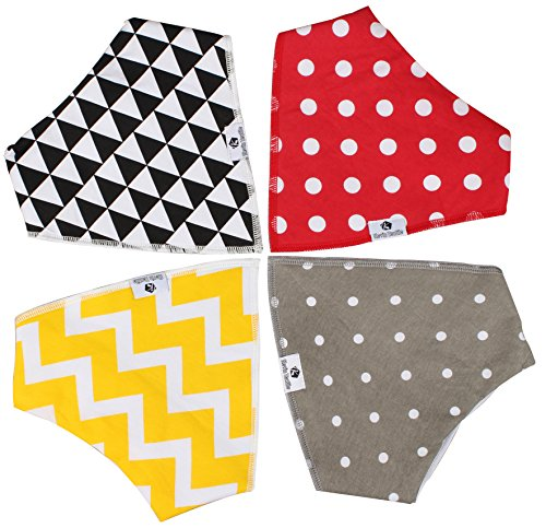 "Baby Bandana Drool Bibs for Drooling and Teething, 4 Pack Gift Set for Boys and Girls ""Modern Baby Gift Set"" by Kevin"