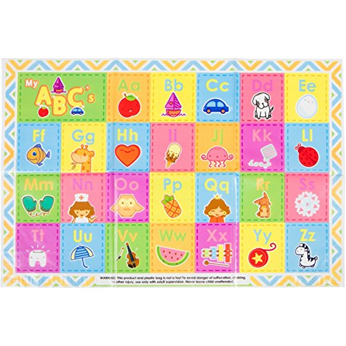 60 Pack - Disposable Placemats - Children's ABC Topper for