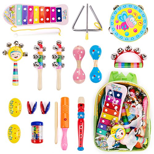 Amagoing 15Pcs Toddler Kids Wood Percussion Musical Instruments Toy Set With Storage Backpack For Early