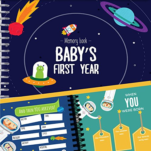 Astronaut Baby's First Year Memory Book | 12 Stickers Included | First year album with stickers and frames to add your pictures in a gorgeous way | Outer Space Edition