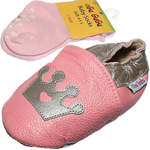 aGu GuGu Soft Sole 100% Real Leather Baby Boy, Girl, Infant,Toddler Pre Walker Shoes with Matching Anti-Slip Socks (16