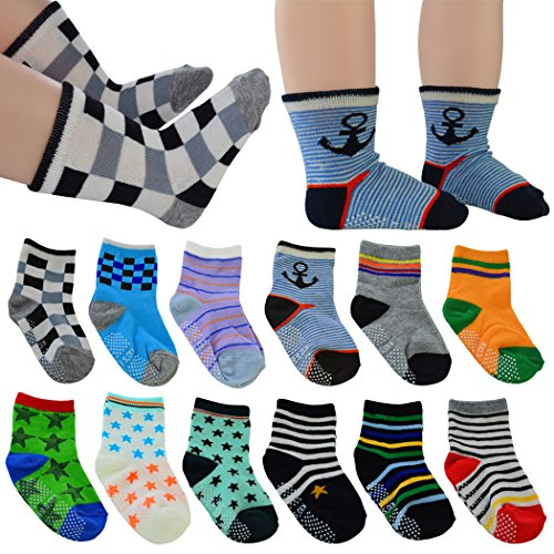 12 Pairs Baby's Cute Warm Cotton Socks (Anti-slip 1 to 3 Years Old), Lystaii Soft Anti Slip Grip Ankle Socks for 12-36 Month Kids Infant Toddler Walker Multiple Color Navy Style Striped Non