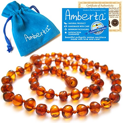 Amber Teething Necklace for Babies Amberta - Anti Inflammatory, Teething Discomfort & Drooling Relief, Natural Soothing Effect - 100% Pure Amber, Twist-in Screw Clasp,