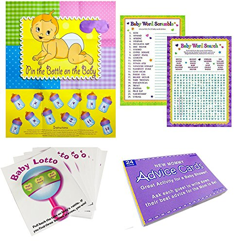 Adorox Baby Shower Party Game (Pin the Bottle or Pacifier on the Baby) Poster (1pkg) (5 Game Party