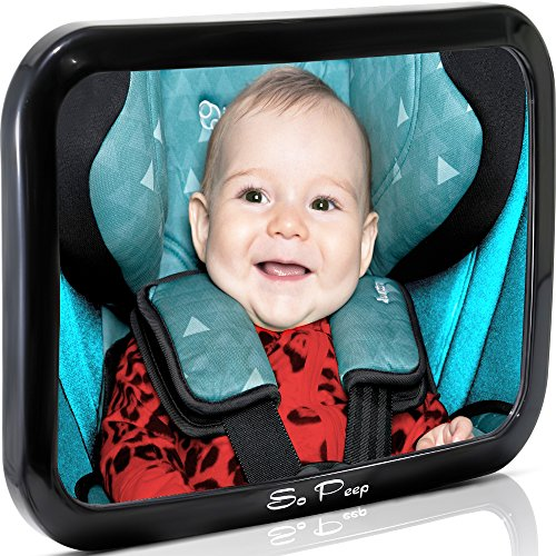 Baby Backseat Mirror for Car - View Infant in Rear Facing Car Seat - 100% Lifetime Satisfaction Guarantee - Best Newborn Safety With Secure Headrest Double-Strap - Essential Car Seat